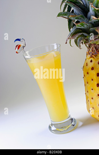 Closeup of a glass of Pineapple Juice. - Stock Image