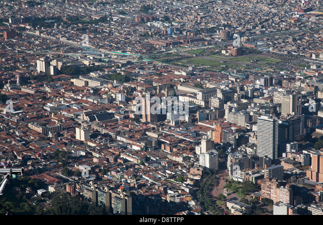 Bird's eye view of Bogota from Monserrate Peak, Plaza Bolivar, Bogota, Colombia - Stock Image