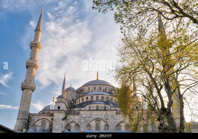 Exterior low angle day shot of domes of Sultan Ahmed Mosque (Blue Mosque), an Ottoman imperial mosque located in - Stock Image
