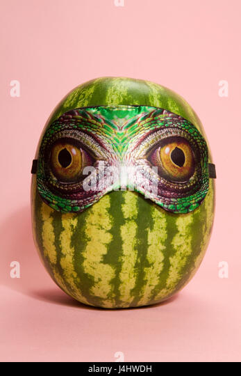 Freak watermelon wearing a snake sleep mask a pink background - Stock Image
