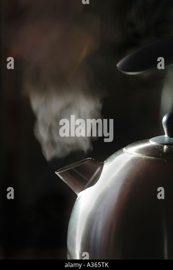 Steaming Kettle - Stock Image