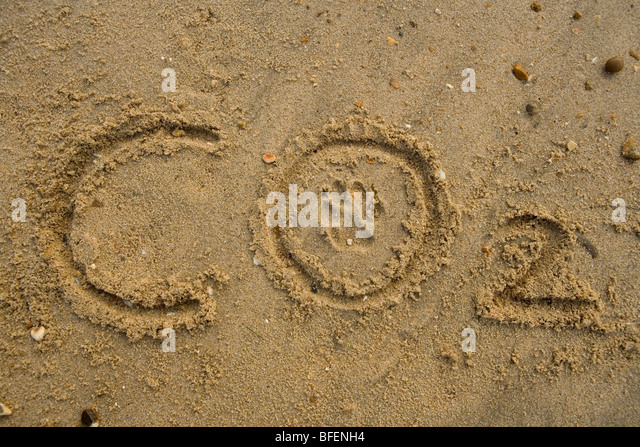Carbon footprint Co2 text with paw print on beach Gosport - Stock Image