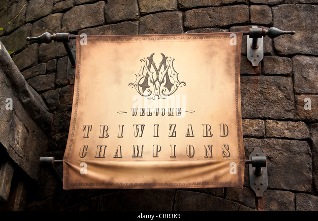 Welcome Triwizard Champions banner - Stock Image