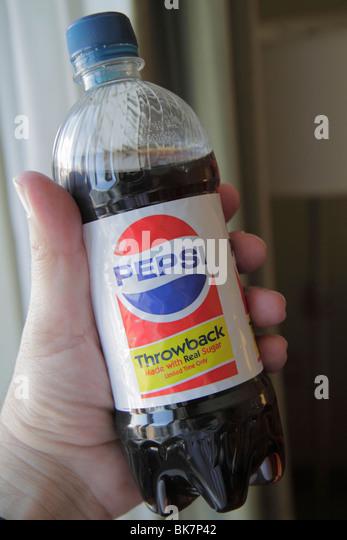 Washington DC carbonated soft drink cola soda beverage Pepsi plastic bottle logo trademark promotion Throwback made - Stock Image