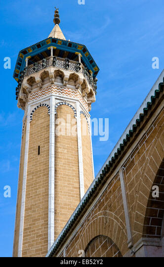 Tunisia, Tunis, the minaret of the Sidi Youssef mosque - Stock Image