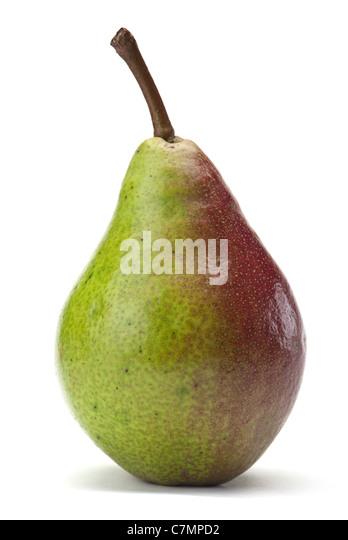 Ripe pear fruit closeup isolated on white background - Stock Image