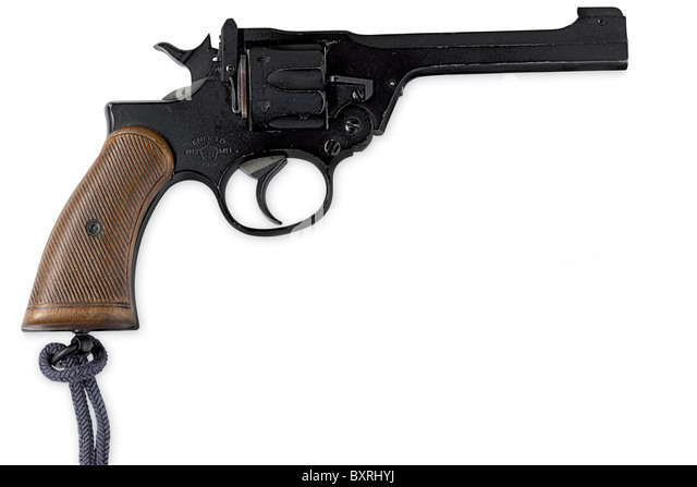 Enfield MK1.38 revolver and ammunition as carried by RAF fighter pilots during World War Two - Stock Image