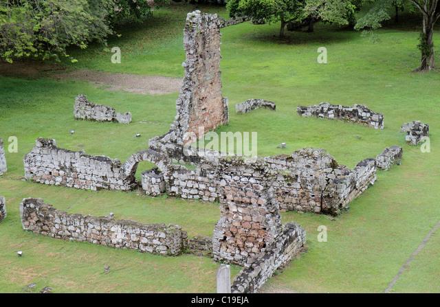 Panama City Panama Panama Viejo Ruinas Panama La Vieja ruins colonial Spanish settlement historic World Heritage - Stock Image