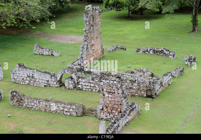 Panama Panama City Panama Viejo Ruinas Panama La Vieja ruins colonial Spanish settlement historic World Heritage - Stock Image