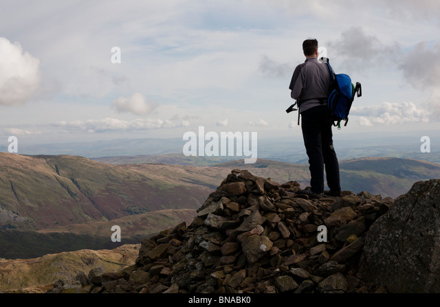 Summit of Red Screes, Lake District. - Stock Image