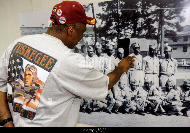 Alabama Tuskegee Black History Moton Airfield Tuskegee Airmen National Historic Site Black man museum history board - Stock Image