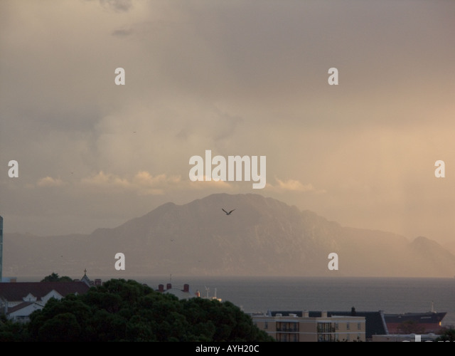 Dusk over the Straits of Gibraltar and Atlas Mountains - Stock Image