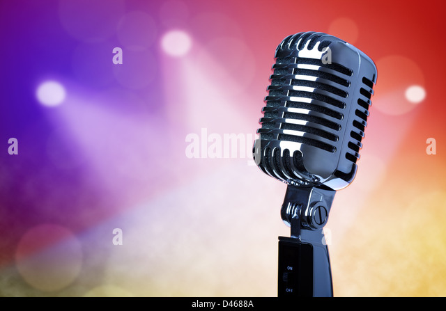Vintage microphone on stage - Stock Image