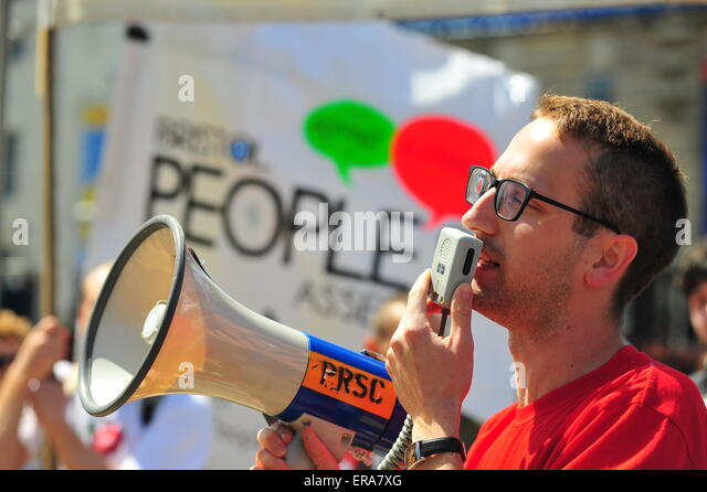 Bristol, UK. 30th June 2015 Hundreds protest in Bristol against austerity after the newly elected Conservative government - Stock Image