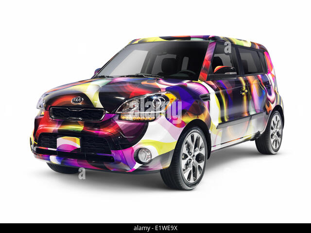Custom painted 2013 Kia Soul compact car isolated on white background with clipping path - Stock Image