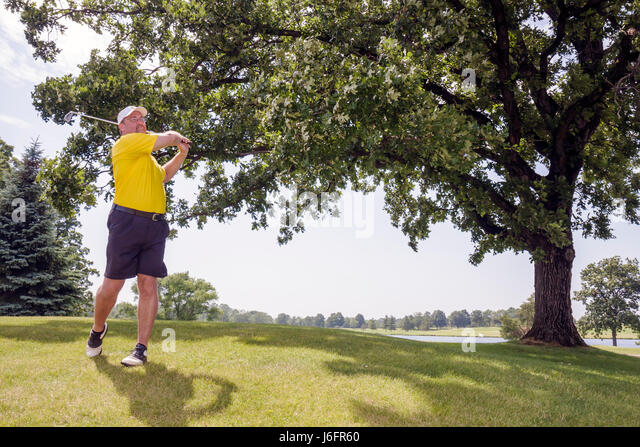 Wisconsin Kenosha Kansasville Brighton Dale Links golf course county park system man swing club tree sport recreation - Stock Image