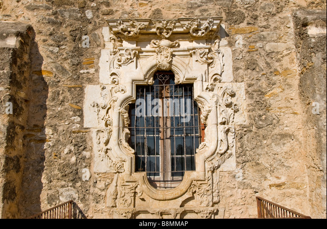 Rose Window Mission San Jose San Antonio Texas tx Missions National Park - Stock Image