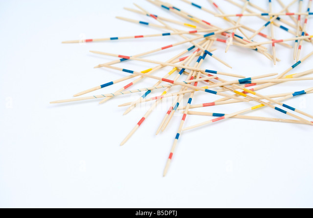 Pile of pick up sticks, close-up - Stock Image
