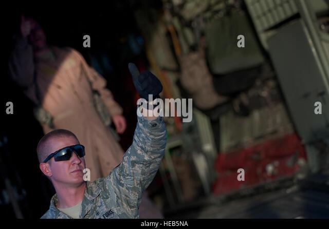 Senior Airman Mike Johnson,451st Expeditionary Aeromedical Evacuation Squadron Detachment 1 Contingency Aeromedical - Stock Image