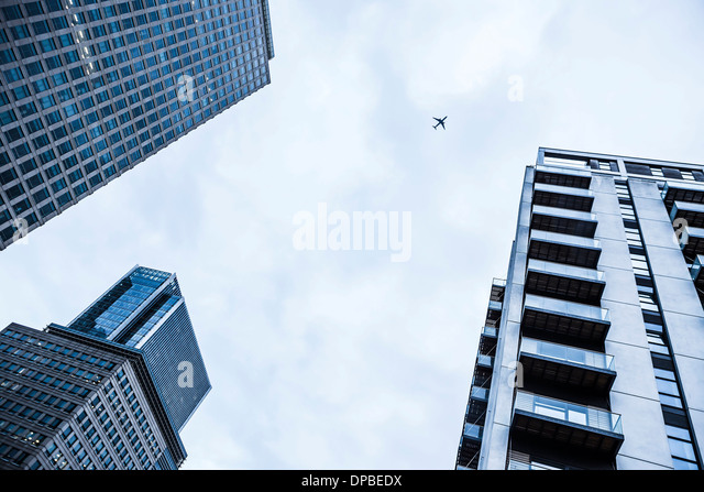 UK, London, Docklands, parts of three buildings at financal district - Stock Image