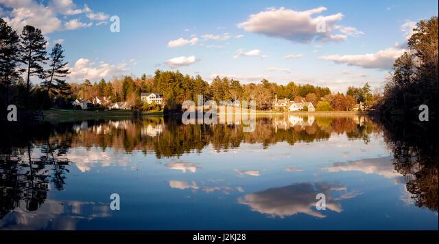 Deerlake Reflections (Pano) - Brevard, North Carolina, USA - Stock Image