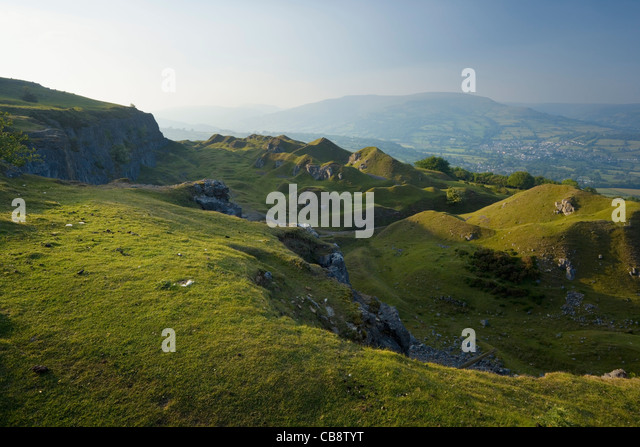 Disused Quarries on the Llangattock Escarpment. Brecon Beacons National Park. Powys. Wales. UK. - Stock Image