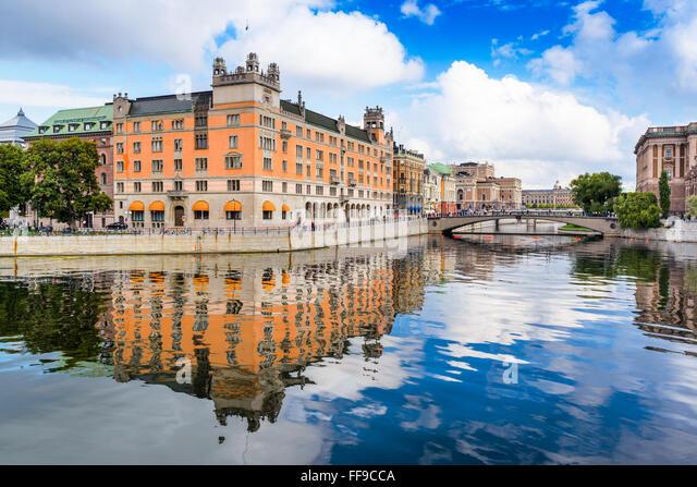 Stockholm, Sweden river cityscape. - Stock Image