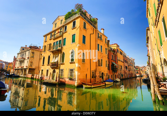 Italy, Europe, travel, Venice, houses, Italy, Europe, travel, canal, colourful, reflection, tourism, Unesco, Venice - Stock-Bilder