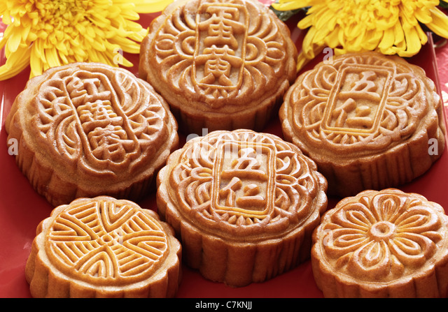 mooncake for Chinese mid autumn festival - Stock Image