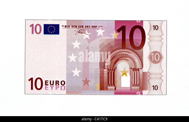 money, banknotes, euro, 10 euro bill, obverse, banknote, bank note, bill, bank notes, banknote, bank note, bill, - Stock Image