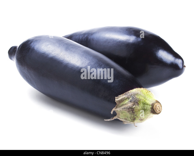 Two fresh eggplant isolated on white background - Stock Image