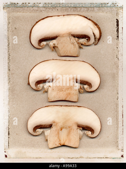 sliced mushrooms on a polaroid transfer - Stock Image