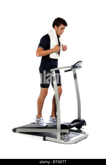 Man who pedal stationary bikes - Stock Image