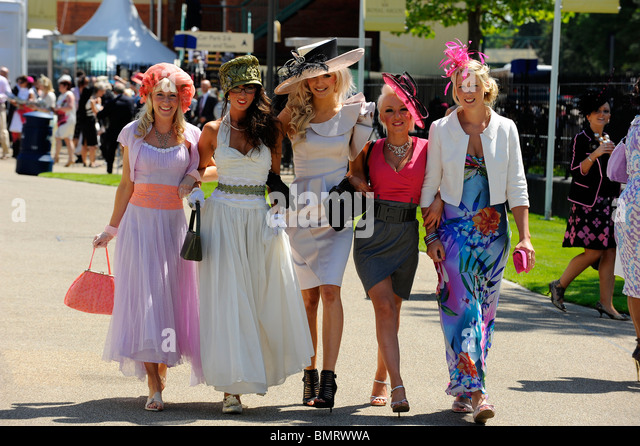 Female race goers wearing hats attend day three of Royal Ascot 2010 - Stock Image