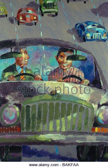 two men driving one car - Stock-Bilder
