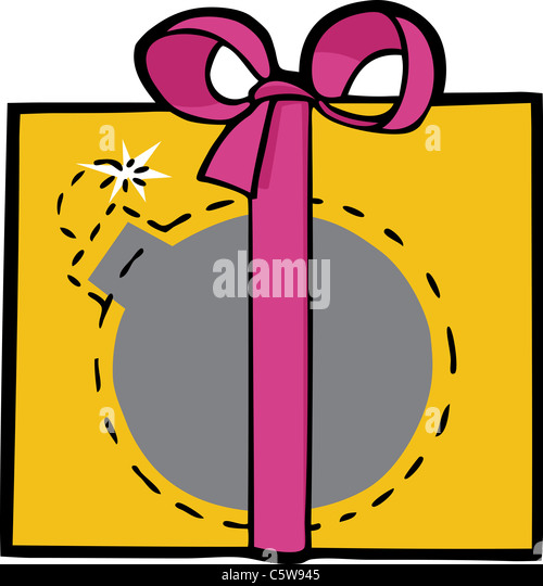Deadly bomb smuggled in a pretty gift box with ribbon - Stock Image