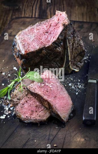 Barbecue T-Bone Steak - Stock Image