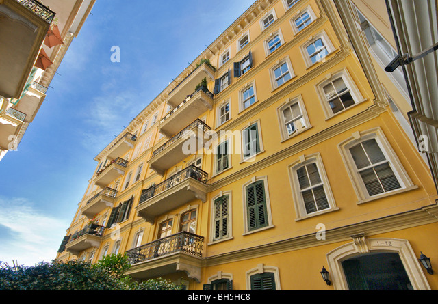 Historical Dogan Apartment Building at Galata Istanbul Turkey - Stock Image