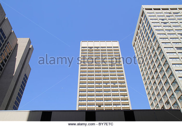 Maryland Baltimore office building plain high-rise commercial real estate linear looking up height downtown city - Stock Image