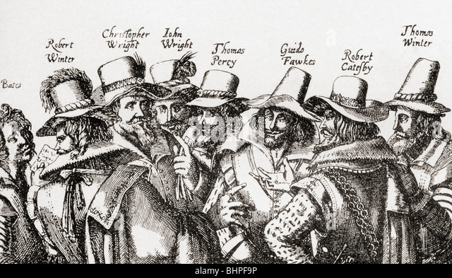 The Gunpowder Plotters.  Guy Fawkes and fellow plotters. - Stock Image