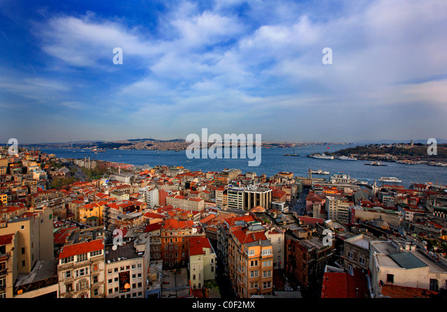 Panoramic view of Istanbul from Galata tower. Turkey - Stock Image