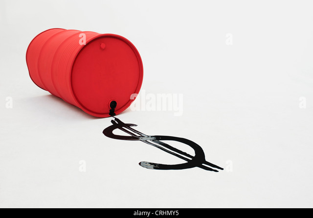 Metal oil drum on side, dollar sign drawn in oil - Stock Image