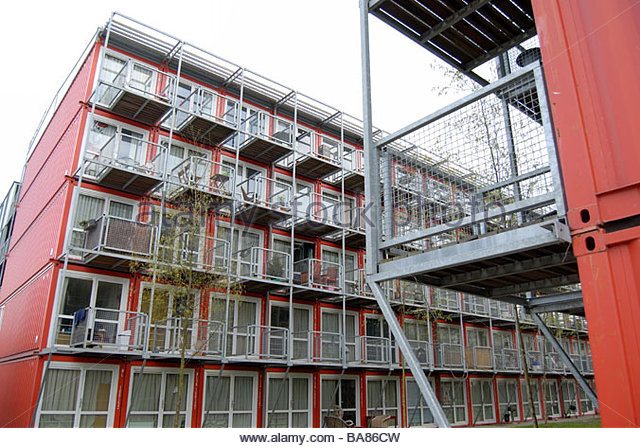 Amsterdam The Netherlands Keetwonen, student accommodation, claimed to be the biggest container city in the world. - Stock-Bilder