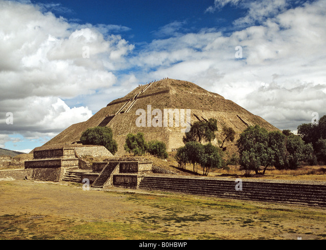 Pyramid of the Sun in Teotihuacan, Aztec civilization near Mexico City, Mexico, Central America - Stock Image