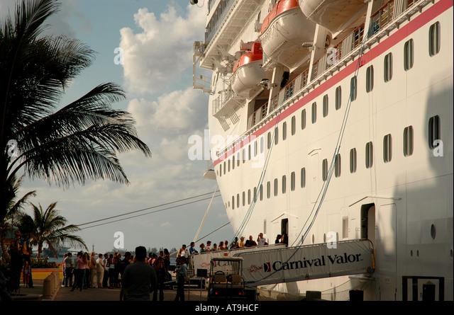 Bahamas Nassau cruise ship at dock Carnival Valor - Stock Image