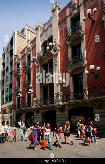 spain Barcelona old city center near cathedral bell epoque architecture - Stock Image