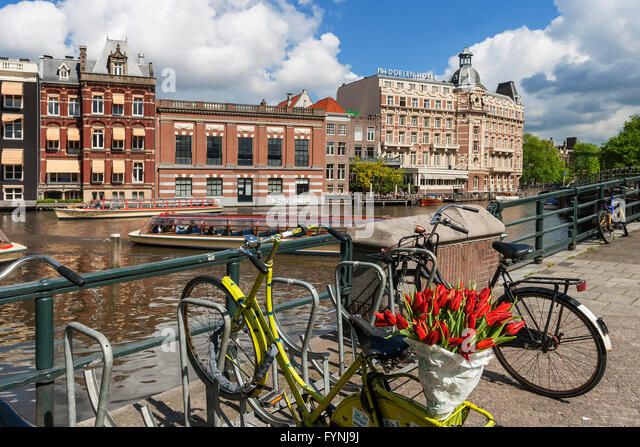 bicycle with tulips, Amsterdam, Netherlands - Stock Image