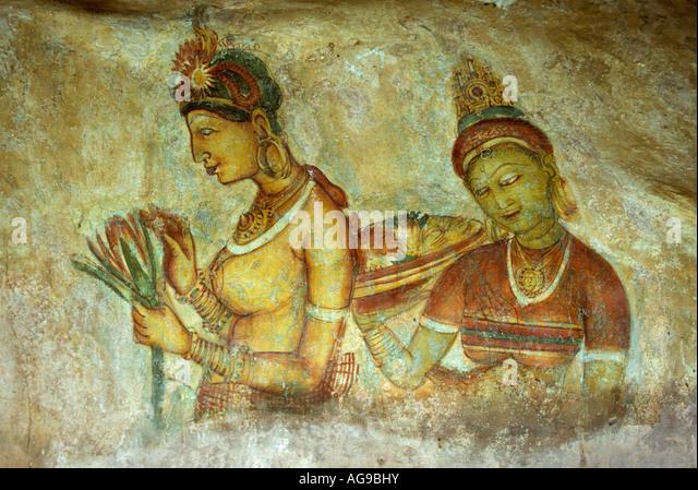 Sri Lanka Sigiriya Wall painting or fresco - Stock Image
