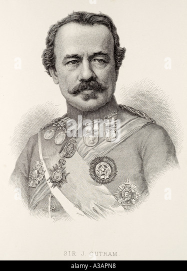 Sir J Outram British commander soldier army decorated moustache military war UK United Kingdom GB Great Britain - Stock Image