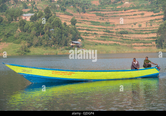 Boat landing at mainland. Lake bunyonyi. Uganda. - Stock Image